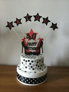Personalised Cake Topper Stiletto Shoe Birthday 16th 18th 21st 30th 40th etc