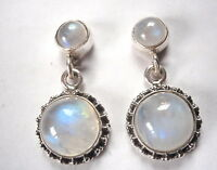 Moonstone Double Gem 925 Sterling Silver Stud Earrings with Silver Dot Accents
