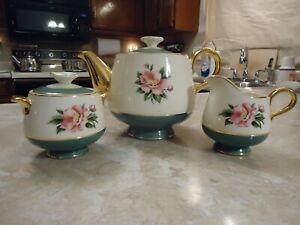 Homer Laughlin Empire Green Cavalier Eggshell Teapot Creamer and Sugar with Lid