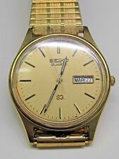 Vintage Gts Seiko Quartz Day/Date Yellow gold plated Wrist Watch and Band