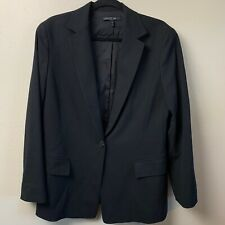 Lafayette 148 Womens Blazer 12 Black Stretch Wool One Button Long Classic Work