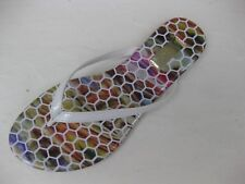 Qupid Womens Shoes NEW $28 Gable-06 White Patent Thong Multi Insole 5.5 M