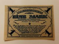 MITAU LATVIA JELGAVA NOTGELD 1 MARK 1919 EMERGENCY MONEY BANKNOTE (12440)