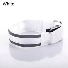 Reflective LED Light Arm Armband Strap Safety Belt for Night Running Cycling White