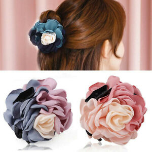Elegant Women Flower Hair Claws Clamps Hair Clips Pins Ponytail Hair Accessories