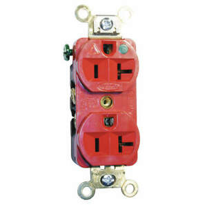 HUBBELL WIRING DEVICE-KELLEMS IG8300R Receptacle,Duplex,20A,5-20R,125V,Red
