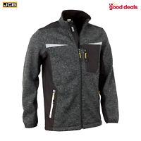 JCB Workwear Essington Full Zip Grey Marl Knit Jumper Fleece Soft Shell Jacket