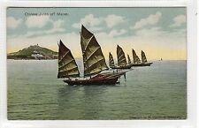 CHINESE JUNKS OFF MACAO: Macao postcard (C23308)