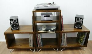 Industrial Retro Wooden Record Player Cabinet - Vinyl Storage Stand