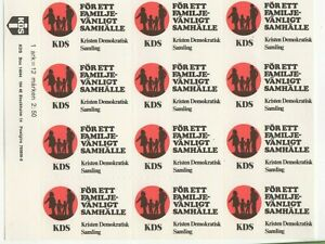 """Sweden """"For a Family-Friendly Community"""" KDS Party, Political, Sheet of 12 MNH"""
