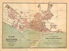 ALICANTE ALACANT. plano antiguo Cuidad. Antiguo pueblo/ciudad Plan. Martin c1911 Mapa