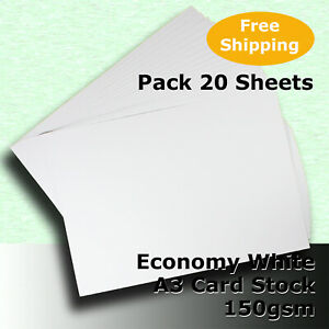 20 Sheets WHITE A3 Size 150gsm Economy General Purpose Card Stock #H5168 #LHHH