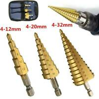 3Pcs Large HSS Step Titanium Cone Drill Hole Cutter Bit Set Tool 4-32mm + Pouch