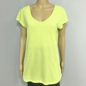 Victorias Secret VSX Sexy Sport T-Shirt Top Womens Size Large Neon Lime Green