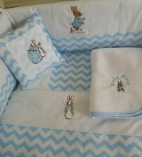 Peter Rabbit Nursery Package. Cot Bed set, nappy stacker,cushion,Fleece Blanket