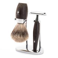 Muhle KOSMO Bog Oak Safety Razor & Fine Badger Hair Shaving Brush Set