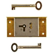 """RIGHT HAND BRASS HALF MORTISE LOCK WITH 2 KEYS, S-20R, 3"""" H x 1 1/2"""" W x 3/8""""T"""