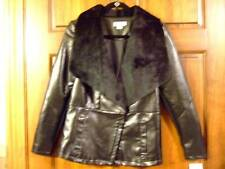 NWT ~ JACLYN SMITH black faux leather faux fur jacket coat ~ womens S