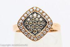 Vintage 0.88 ct Chocolate White Diamond 10K Rose Gold Cluster Ring Sz. 7