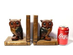 """Pair of Hand Carved Wooden Bookends with Owls on Books Design 7"""" Tall"""