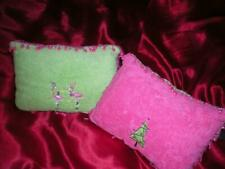 "GREEN & PINK CHRISTMAS TROPICAL BEADED PINK FLAMINGOS & TREE  PILLOWS  12"" X 8"""