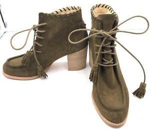 Stuart Weitzman Wallawalla Olive Suede Lace Up Booties Size 8 1/2