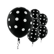 "6 Black White Polka Dot Spotty Birthday Party 12"" Printed Latex Balloons"