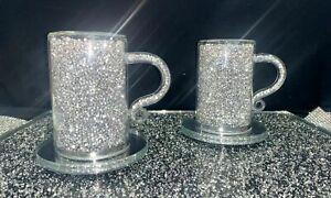 NEW BRAND CRUSHED DIAMOND SILVER CRYSTAL MUGS AND COASTER SET_UK