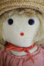 Vintage French RUSTIC handmade COUNTRY GIRL RAG DOLL c1950
