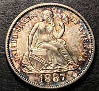 1887 S/S Seated Liberty Silver Dime 10c High Grade RPM UNC Luster & Toning