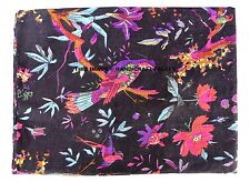 Indian Black Bird Hand Print Dressmaking Cotton Fabric Craft Sewing By 5/10 Yard