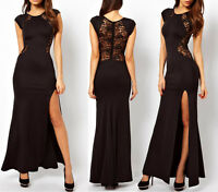 Womens Lace See-through Back Slim Bodycon Split Side Maxi Long Party Dress A007