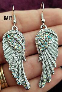 Vintage Style Angel Wings Long Dangle Diamante AB Crystal Earrings Silver Gift