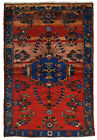 Vintage Tribal Oriental Malayer Rug, 4'x6', Red/Blue, Hand-Knotted Wool Pile