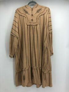 Womens Shift Dress Brown Black Stripe Embroidered Mandarin Collar Long Sleeve L
