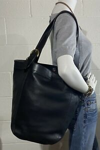 Vintage COACH Soho XL BLACK Leather #4082 Bucket Feedbag Tote w/Brass Hardware