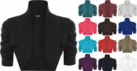 New Plus Womens Short Sleeve Ruched Ladies Crop Shrug Bolero Cardigan Top 16-26
