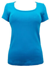 NEW - Dorothy Perkins Bright Blue Turquoise Pure Cotton Short Sleeve T-Shirt Top