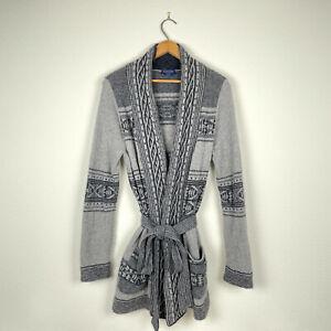 Pendleton Discovery ALPACA WOOL Sweater Striped Aztec Print Belt Robe Long Gray