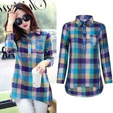 Retro Women Ladies Long Sleeve Cotton Linen Top Casual Loose Check Shirt Blouse