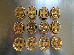 Bolo slide Gold Plated 18x25mm Shawn pronged Black Beaded edge (Pkg 12) 0335