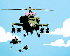 Choppers by Banksy Urban Military Helicopter Bow Graffiti Print Poster 16x20
