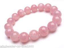 10mm Natural Madagascar Pink Rose Quartz Crystal Round Gemstone Stretch Bracelet