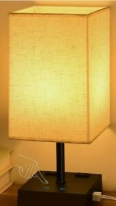 3-Color Touch Control Table Lamp Comzler Dimmable Bedside Lamp With 2 USB Ports