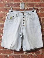 VTG 90's Floral sz 7 Shorts Blue Denim Festival Mom Jeans High Waisted Buttons