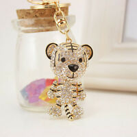Tiger Crystal Rhinestone Charm Pendant Key Bag Chain Gift Keychains Keyrings H