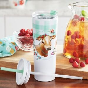NEW Pioneer Woman Gingham Cow Vacuum Insulated SS 27oz Tumbler Straw Coffee Cup