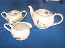 3pc Grace TeaWare teapot, Creamer & Covered Sugar Bowl all w/ Lavender Rose's