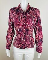 Tommy Hilfiger Women Size M Button Multicolor Long Sleeves Blouse Top Shirt. B42