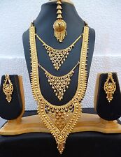 22K Gold Plated Designer Indian Wedding 11'' Long Necklace Earrings Tikka set l.